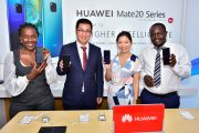 From left to right- Huawei's Head of Marketing Communication, Nakhulo Khaimia, Steven Li, Huawei's Head of Eastern Africa Mobile, Susan Wong Editor,Capital Lifestyle and  Derrick Alenga, Training Manager during the launch of Huawei Mate 20 Pro into the Kenyan market