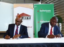 On left is Mr Bob Collymore, Chief Executive Officer of Safaricom, and Dr James  Mwangi, CEO, Equity Group Holdings. Photo, Maria Macharia, CAJ News Kenya Bureau