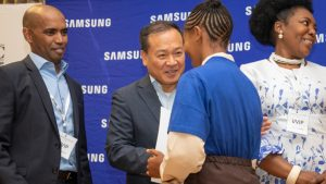 Samsung Chief Executive Officer and President in charge of Africa, Sung Yoon and Nithia Pillay, Samsung Africa Director responsible for Customer Service