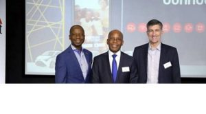 (L-R) William Mzimba – Chief Executive Officer, Vodacom Business; Mteto Nyati – Chief Executive, Altron Group; Andrew Kirby - President and CEO of Toyota South Africa Motors. Photo by Mthulisi Sibanda, CAJ News Africa