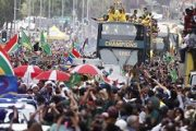Hordes of thousands flood streets of Johannesburg to celebrate Springboks' World Cup victory. Other Africans could not be left out as they celebrated triumph for South African rugby squad as the world champions. Photo supplied.