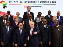 On the centre is British Prime Minister, Boris Johnson with 16 African leaders at the 2020 UK-Africa Investment Summit in London. Photo by Nick Wilson, CAJ News London.