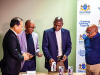 South Africa health minister, Dr Zweli Mkihize (2nd from right), receives equipment donated by Samsung and Telkom for the fight against COVID-19.
