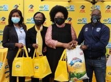 Sharon Ditshego (PSL), Nomsa Mazibuko (MTN GM Brand and Communication), Mandisa Mathe (Founder of Tshwane one Stop Shelter) and Coltrane Munyai of Supersport United  during the 2020 MTN8 Goal for Charity at the Tshwane one Stop Shelter, Pretoria West on the 22 September 2020 ©Muzi Ntombela/BackpagePix