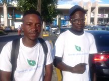 On left is Clarence Tapfuma (26) with Zimbabwean co-founder of Dynamic Windscreen Tech Spencer Banda (29) after fixing damaged cars' windscreen dents, chips and cracks. Photo by Savious Kwinika, CAJ News Africa
