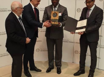 GMD/CEO, Access Bank Plc, Herbert Wigwe, picks up the Karlsruhe Outstanding Business Sustainability Achievement Awards 2019, in Karlsruhe, Germany, for the 4th time