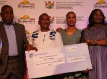 Steven Tshwete municipal executives showcase their cheque after they have been adjudged the greenest in the Mpumalanga Province. Photo by Anna Ntabane, CAJ News Africa.