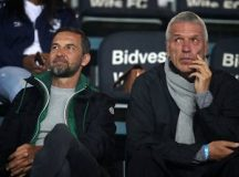German coaches Ernst Middendorp, Josef Zinnbauer stare each other. Photo by Muzi Ntombela/BackpagePix