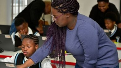 South African girls are seen here participating in the Vodacom's coding training skills